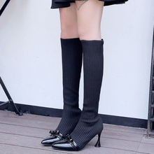 XZ052 Stretch Fabric Sock Boots Pointed Toe Knee High Boots Thin High Heel Woman Boots Sexy Autumn Boots Bowknot Women Shoes new fashion thin heels woman boots sexy pointed toe stretch fabric mid calf boots 2017 high heel boots casual boots black