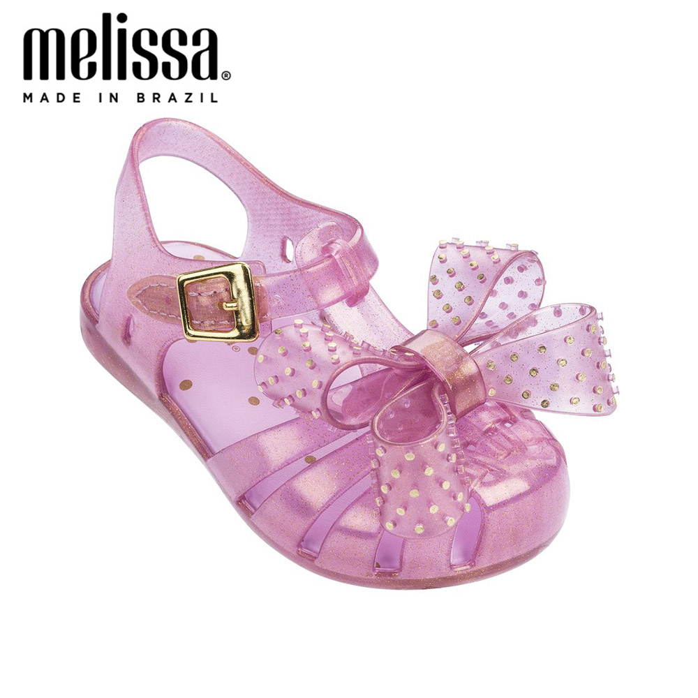 Mini Melissa Lovely Rivet Bow Girl Jelly Shoes Beach Sandals 2020 NEW Baby Shoes Soft Melissa Sandals Kids Non-slip Princess