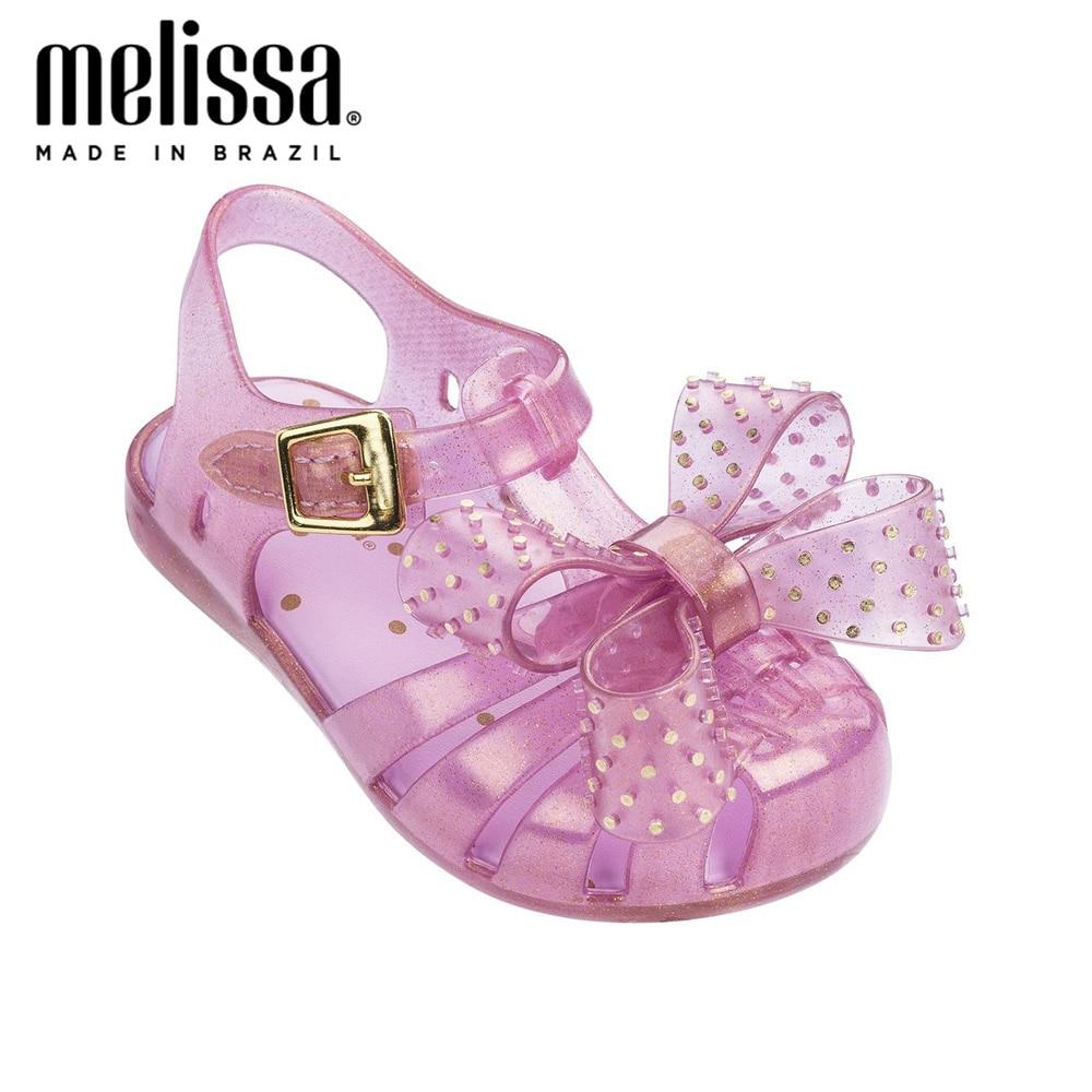 Mini Melissa Lovely Rivet Bow Girl Jelly Shoes Beach Sandals 2020 NEW Baby Shoes Soft Melissa Sandals Kids Non-slip Princess