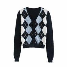 Женщины za свитер 2020 старинные Англия стильный стиль геометрический узор укороченный вязаный кнопка кардиган VNeck футболка с длинным рукавом верхней одежды