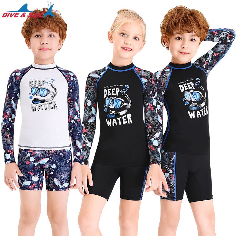 Boys Two Piece Rash Guard Swimsuits Kids Long Sleeve Sunsuit Swimwear Sets
