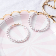 White Pearl Hoop Earrings for Women Circle Ear Hoops Female Temperament Fashion Wedding Party Jewelry Gifts