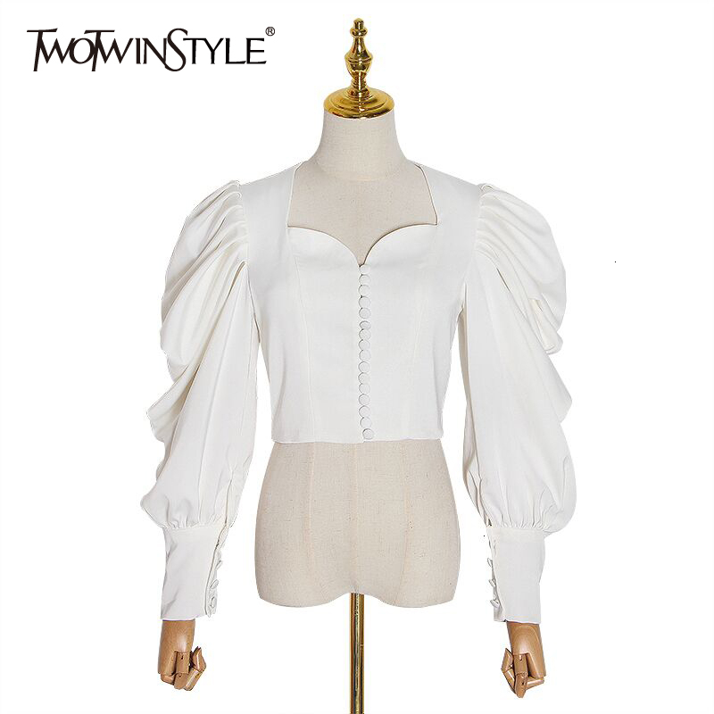TWOTWINSTYLE Vintage Beading Ruched Blouses For Women Square Collar Lantern Long Sleeve Autumn Shirt Female Fashion Clothing New