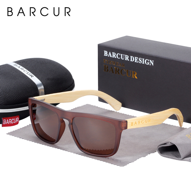 BARCUR erkekler kadınlar için polarize bambu güneş gözlüğü ahşap güneş gözlüğü lunette de soleil femme