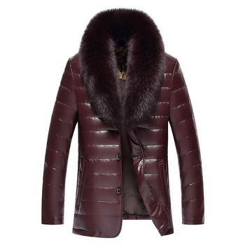Winter New Big Real Fur Collar Veste Homme Cuir White Duck Down-padded Jaket Kulit Pria 8