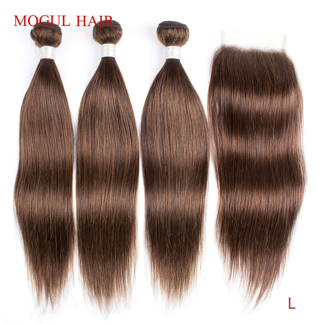 MOGUL HAAR Farbe 4 Schokolade Braun Gerade Haar Bundles mit Verschluss Peruanische Gerade Remy Menschenhaar Verlängerung 10 24 zoll