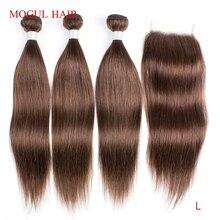 Mogul Haar Kleur 4 Chocolade Bruin Steil Haar Bundels Met Sluiting Peruaanse Straight Remy Human Hair Extension 10 24 inch