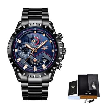 2020 New LIGE Blue Casual Mesh Belt Fashion Quartz Wristwatches Mens Watches Top Brand Luxury Waterproof Clock Relogio Masculino - S black blue, China