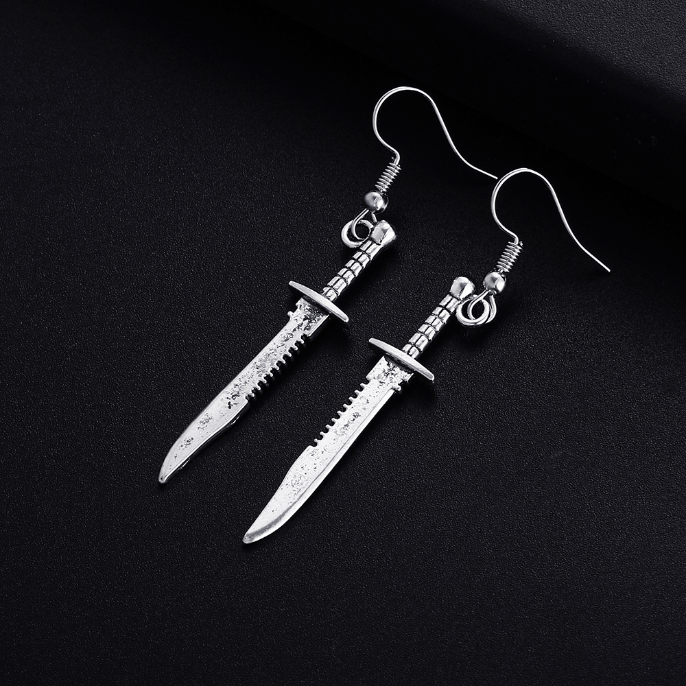 Trendy Vintage Knife Shape Dangle Earrings for Women Girl Retro Drop Earrings Cute Small Object Earring Jewelry Bijoux