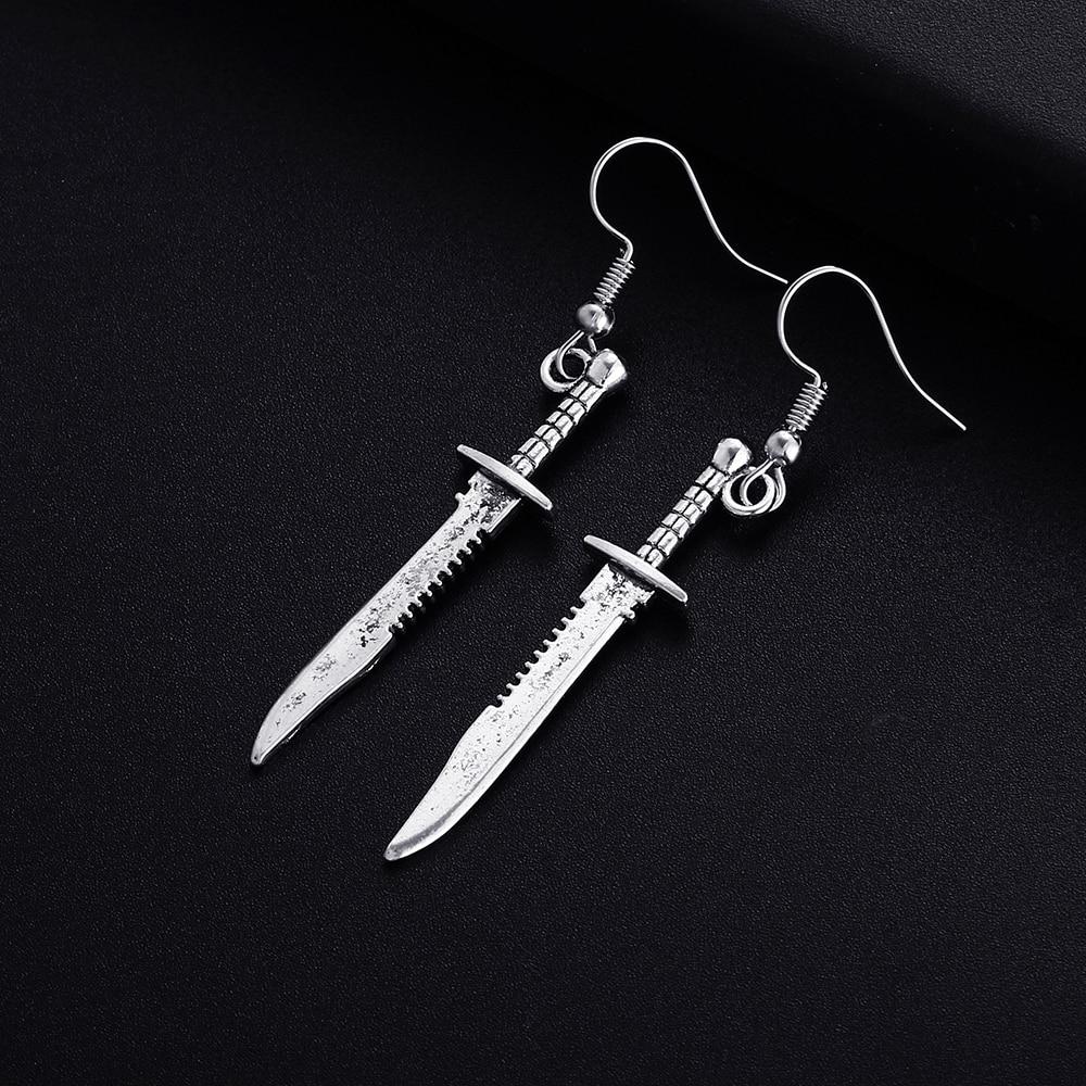 Trendy Vintage Knife Shape Dangle Earrings for Women Girl Retro Drop Earrings Cute Small Object Earring Jewelry Bijoux