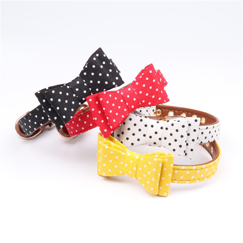 Amin Lattice New Style Origional Polka Dot Pet Bow Neck Ring Dog Hand Holding Rope Manufacturers Direct Selling
