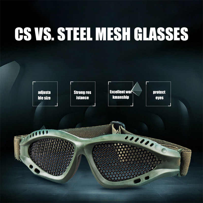 Tactical Goggles Adjustable Clear Anti Fog Metal Mesh Large Protective Outdoor Sports Game Accessories Eyewear Safety Glasses