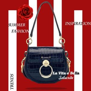 Image 1 - Genuine Leather  Tess Saddle  Woman Fashion Crocodile Pattern Womens Real Leather Luxury Brand Shoulder Purse