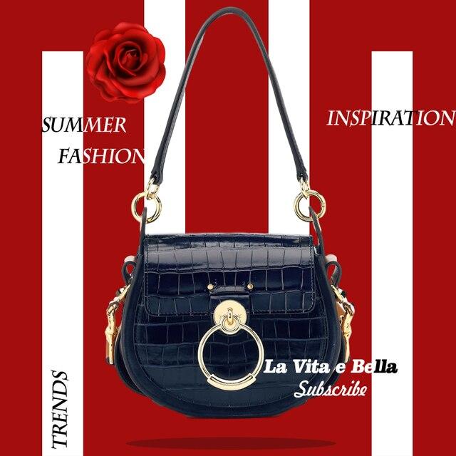 Selle Tess en cuir véritable pour femmes, bourse à bandoulière, motif Crocodile, marque de luxe