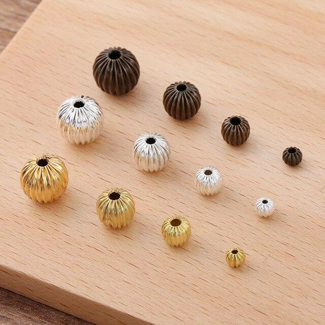 50 pièces 4mm 6mm 8mm 10mm trou entretoise perles Antique Bronze argent couleur cuivre citrouille perles pour bricolage fabrication de bijoux résultats