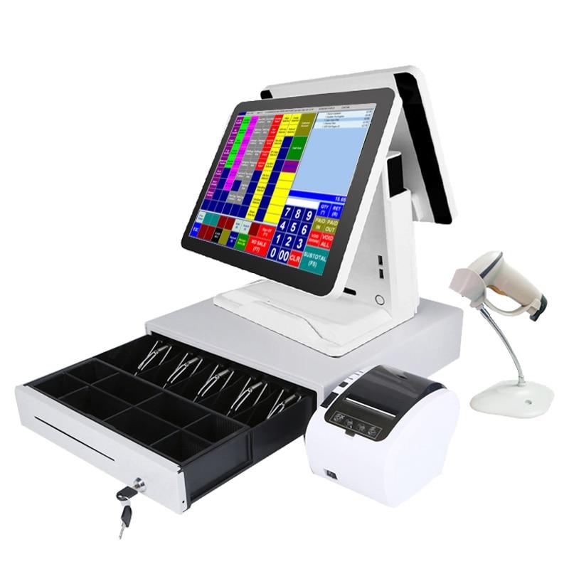 Caisse enregistreuse avec lecteur de codes à barres, imprimante thermique, tiroir-caisse, 15 pouces, 80mm, 400mm, offre d'usine, livraison gratuite 1