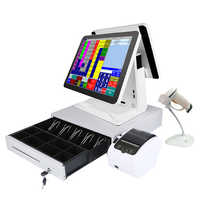 15 inch pos pc cash register with barcode scanner 80mm thermal printer 400mm cash drawer Hot sales factory