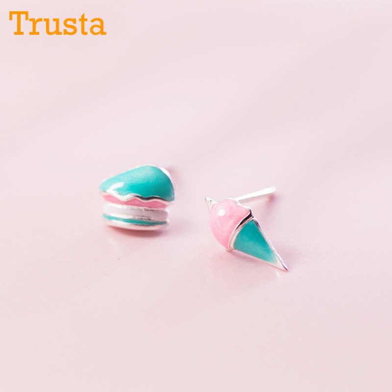 Trusta 100% 925 Sterling Silver Women's Jewelry Asymmetrical Cake Ice Cream Stud Earrings Gift For Girls Kids Lady Madam DS732