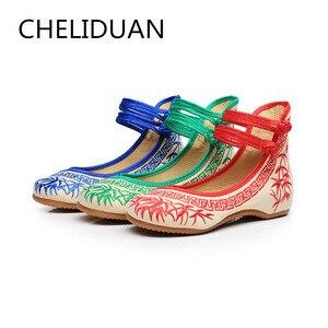 Image 5 - 수제 패션 여성 발레리나 춤 신발 중국어 꽃 자수 부드러운 캐주얼 신발 천으로 산책 메리 제인 아파트
