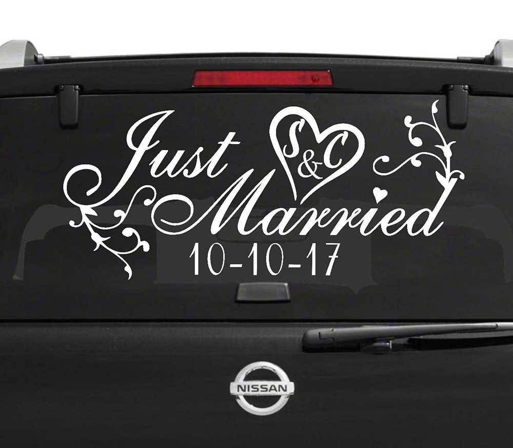 Just Married Sign Car Window Decal