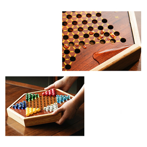 Image 3 - Top Grade Multicolor Marmor Chinese Checkers Schach Set Feine Holz Schachbrett Klassische Familie kinder Party Spielen Board Spiel