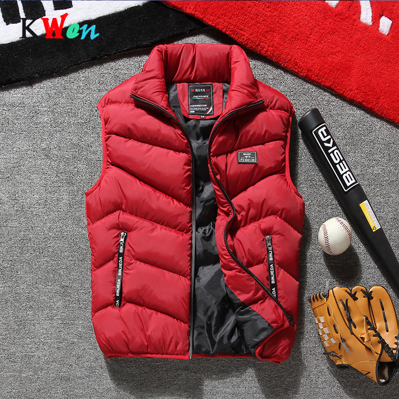 Mens Jacket Sleeveless Vest Winter Quality Solid Slim Casual Coats Male Cotton -Padded Men 's Vest Men Thicken Waistcoats 4XL