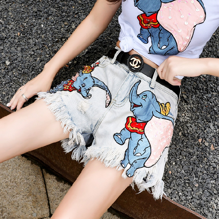 2019 New Summer Fashion Women's Sets Patch Dumbo Short Sleeve T-shirt + Hole Tassel Wide Leg Shorts Casual Students Suits