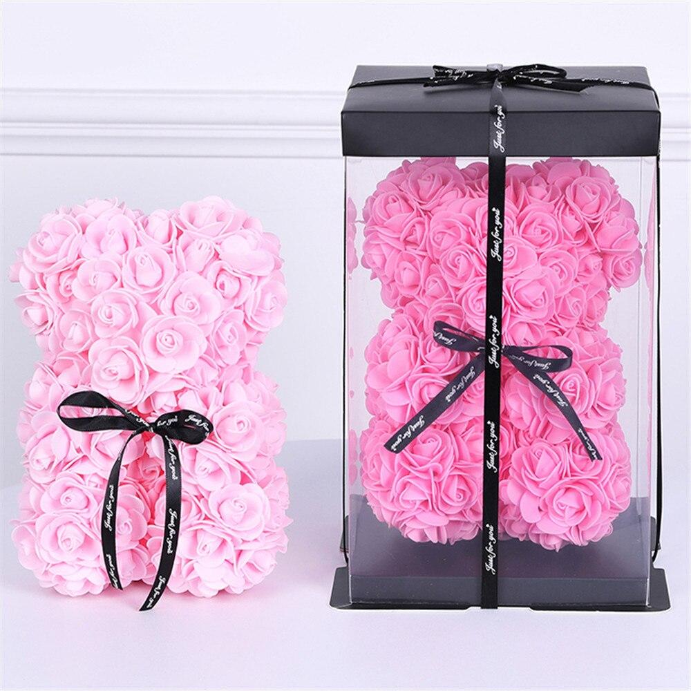 Cadeau saint valentin haute qualité 25cm ours en peluche rouge rose décoration artificielle cadeau de noël femme cadeau saint valentin