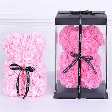 Ours en peluche rose de haute qualité 25cm, décoration artificielle, cadeau de noël pour la saint-valentin pour femme
