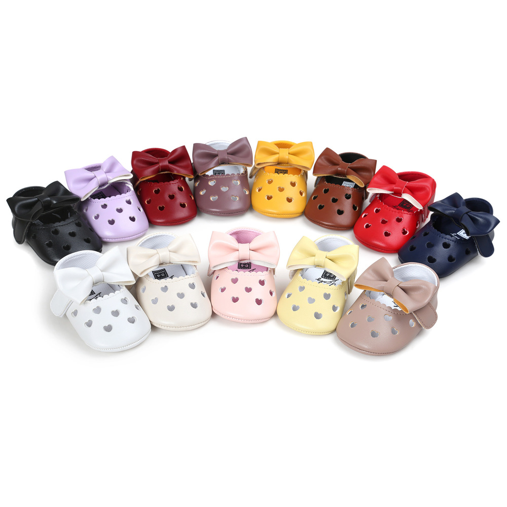 Infant Newborn Baby Crib Shoes Girl Princess Lovely Bowknot PU Soft Sole Anti-slip Breathable First Walker Toddler Moccasins