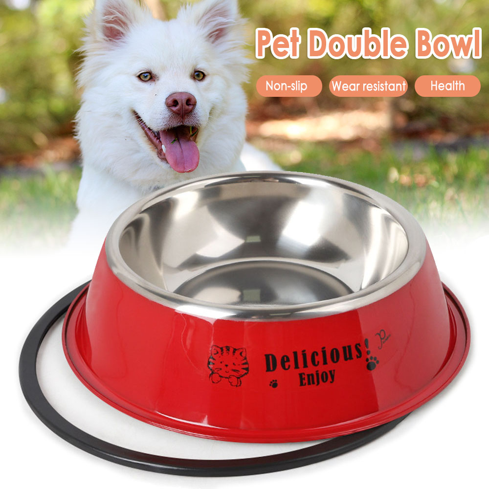 High Quality Stainless Steel Non Slip Pet Bowl Dog Puppy Cat Pet Animal Feeding Food Water Bowl Dish Dog Food Bowl Random Color image