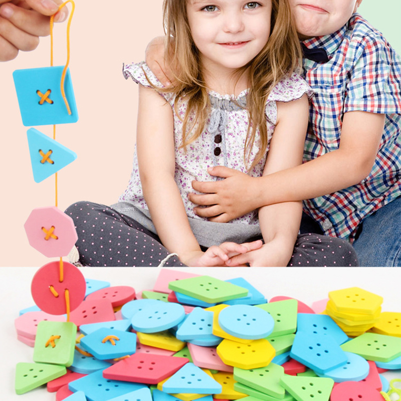 40-120pcs Baby Wooden Beads Toy Set DIY Lacing Board  Buttons Lacing Stringing BeadsToy Kids Threading Bead Game Montessori Toy