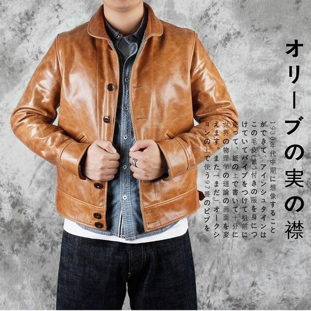 YR! Blouson à lhuile en cuir de vache, flambant neuf, style japonais décontracté, slim et à la mode, bronzage, chaud pour lhiver