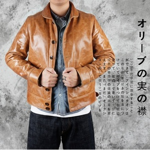Image 1 - YR!Free shipping.Brand new japan casual style oil cowhide jacket,man fashion slim tanning genuine leather coat,winter warm