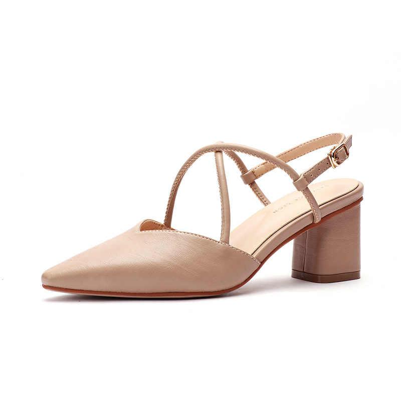 Giày Nữ Mùa Hè 2020 Giày Sandal Cao Gót Vuông Bơm Giày Xăng Quàng Nam Gót Giày Nữ Đàn Điểm Mũi Giày Sandal Nữ