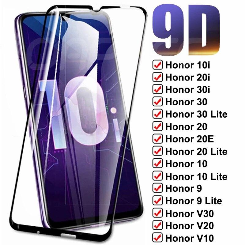 9D полное покрытие закаленное стекло для Huawei Honor 30 20 10 9 Lite защита для экрана Honor V30 V20 V10 20E 30i 20i 10i стеклянная пленка чехол