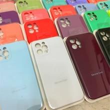 Fundas de teléfono originales oficiales para iPhone 11, fundas de silicona líquida para iPhone 11 12 Pro Max 12 Mini, funda protectora completa para cámara