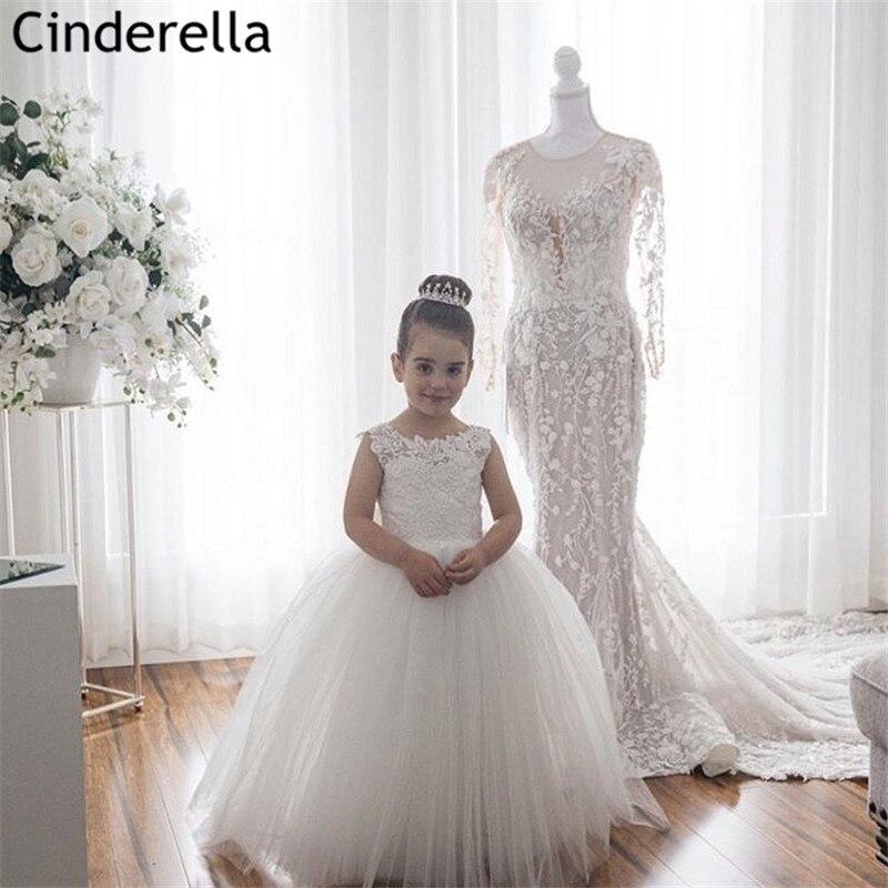 Lace Flower Girl's Dresses Scoop Sleeveless A-Line Floor Length Flower Girls Dresses Hot Little Girls Wedding Party Dresses