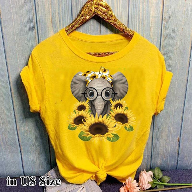 Купить женская футболка с коротким рукавом повседневная забавным слоном