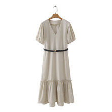 women elegant v neck pleated puff sleeve solid midi dress ladies hem agaric lace