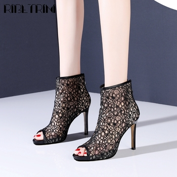 RIBETRINI New Lady Sexy Party Gladiator Shoes Fashion Brand Hollow Dress Women Sandals Summer High Heels Sandals