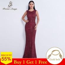 시 노래 새 스타일 이브닝 드레스 긴 sequined vestidos elegantes 드 fiesta 민소매 인어 드레스 바닥 길이 파티 드레스