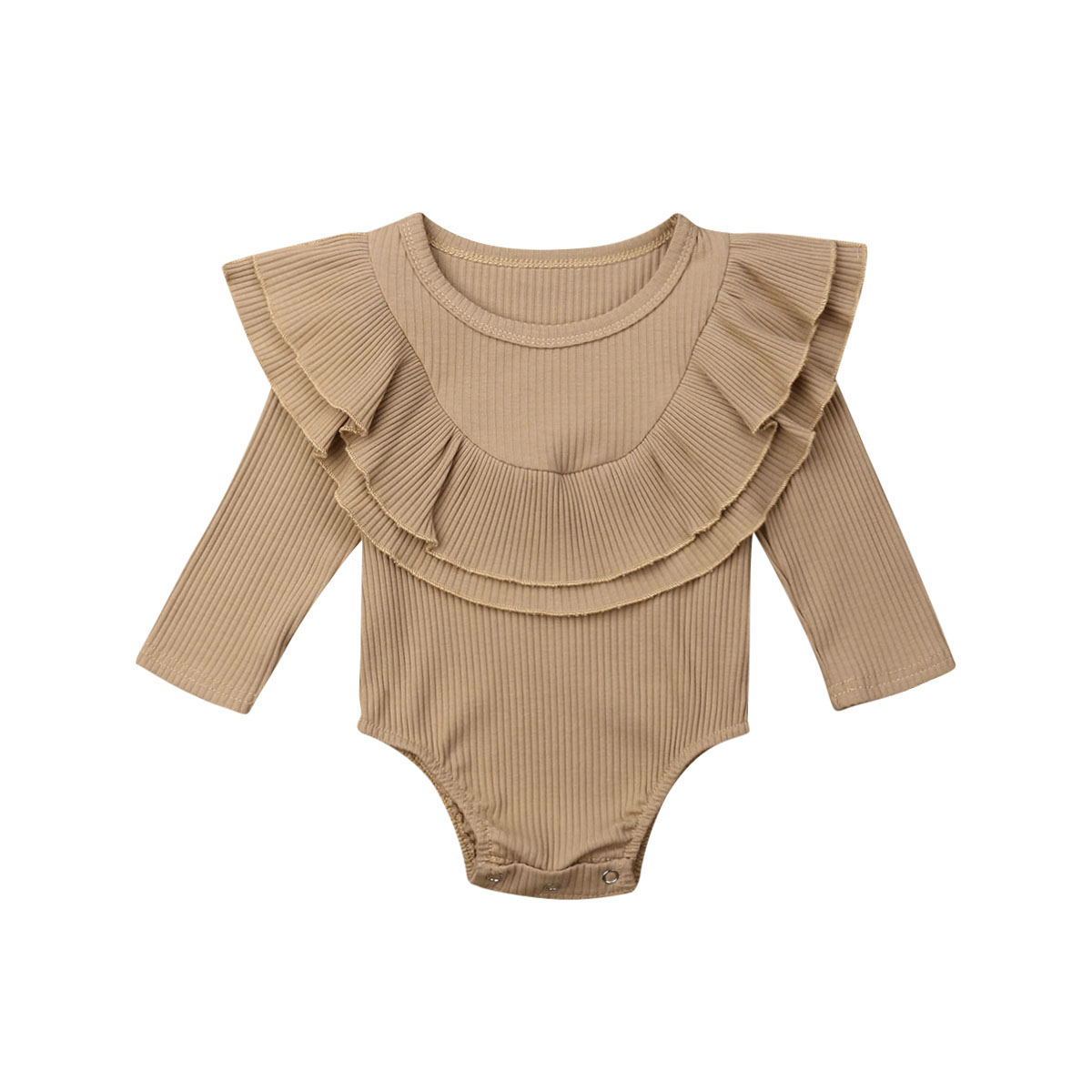 Ribbed Solid Long Sleeve Bodysuit -khaki-