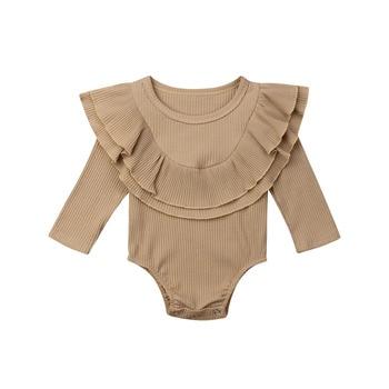 Ribbed Solid Long Sleeve Bodysuit -khaki-