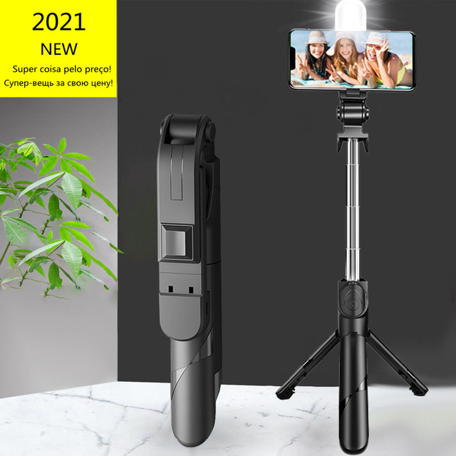 2021 NEW Bluetooth Wireless Selfie Stick Mini Tripod Extendable Monopod with fill light Remote shutter For IOS Android phone 1