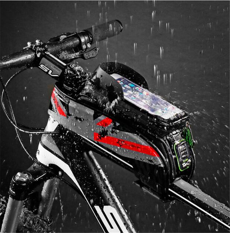 ROCKBROS Bicycle Frame Front Tube Waterproof Bike Bag Touch Screen Saddle Package For 5.8 /6 in Cell Phone Accessories