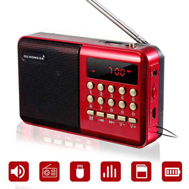 Mini Portable Radio Handheld Rechargeable Digital FM USB TF MP3 Player Speaker Devices Supplies 1