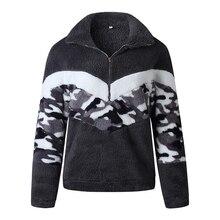 2019 Winter Jacket Women Casual Stripes Hooded Zipper Fuzzy Fleece Jacket Coat Female Warm Teddy Jacket Coat Streetwear fuzzy hooded jacket page 7