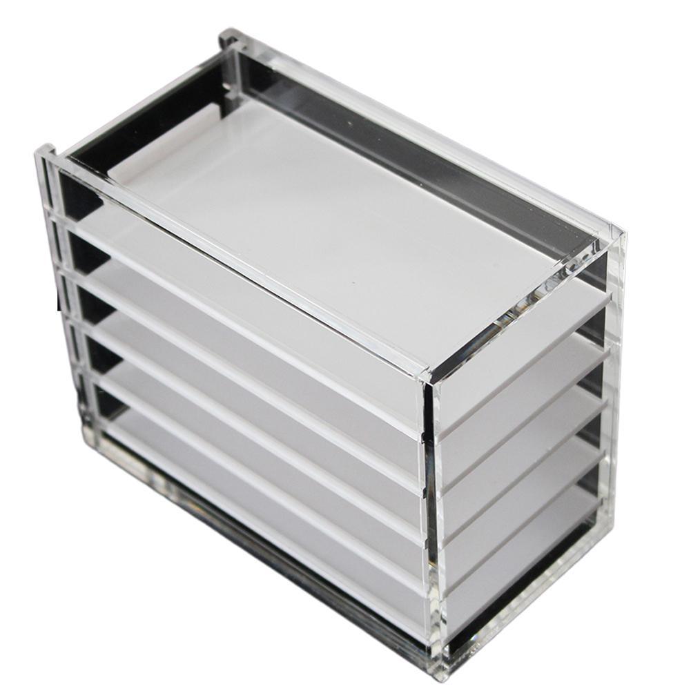 Tranparent 5 Layers Acrylic Pallet False Eyelashes Storage Box Lash Extension Display Rack Grafting Eyelashes Makeup Organizer