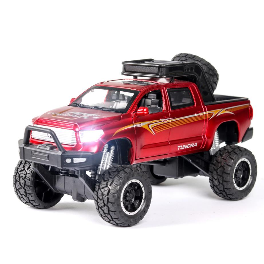 Hot Scale 1:32 Big Wheels Diecast Car Toyota Tundra Pickup Truck Metal Model With Light And Sound Pull Back Vehicle Alloy Toys